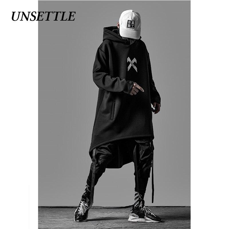 UNSETTLE japanese sweatshirt Mens Oversize Hoodies Long Cloak Hip Hop Gothic Outwear Streetwear Coat Harajuku Style Male Tops 6