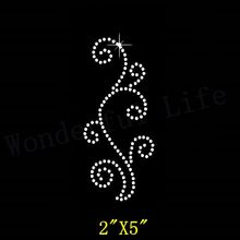 Free Shipping  Swirl Border Design Rhinestone Diamante  Transfer Hotfix Iron on Applique with Free Gift for Dress