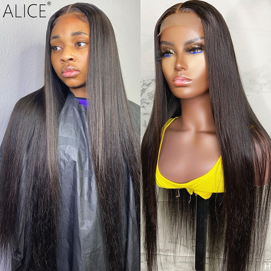 ALICE Straight 13×6 T part Lace Front Human Hair Wigs Scalp Top Closure Wigs With Baby Hair 150% Density Non-Remy
