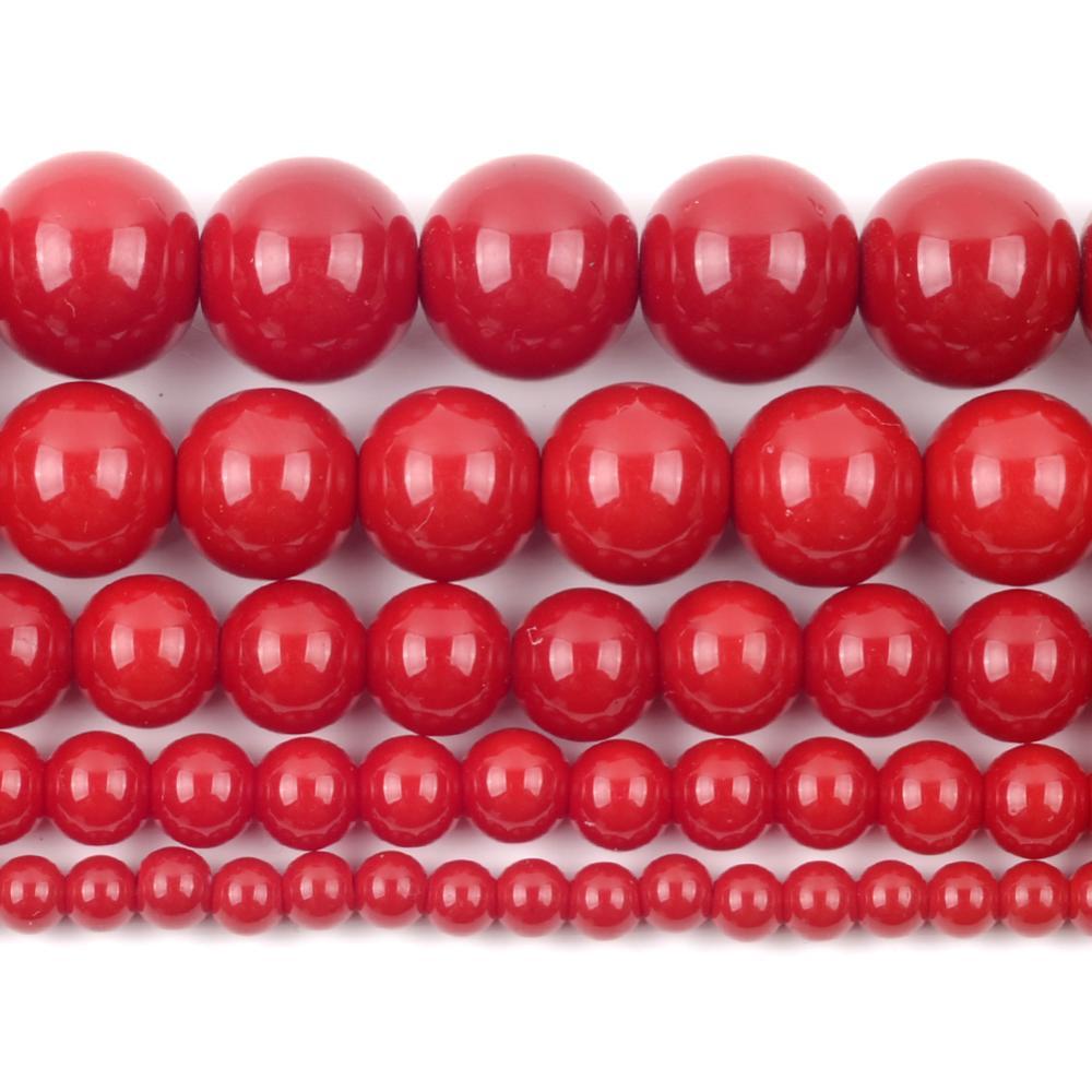 Perles de pierre de corail rouge naturel pour la fabrication de bijoux perles en vrac rondes entretoise 4/6/8/10/12mm Bracelet à bricoler soi-même collier