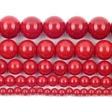 Síntese coral vermelho grânulos de pedra natural para fazer jóias redondas grânulos soltos espaçador 4/6/8/10/12mm diy pulseira colar