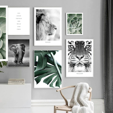 Nature Forest Landscape Canvas Wall Art Print Painting Nordic Tiger Elephant Lion Poster Cactus leaves Picture Modern Home Decor