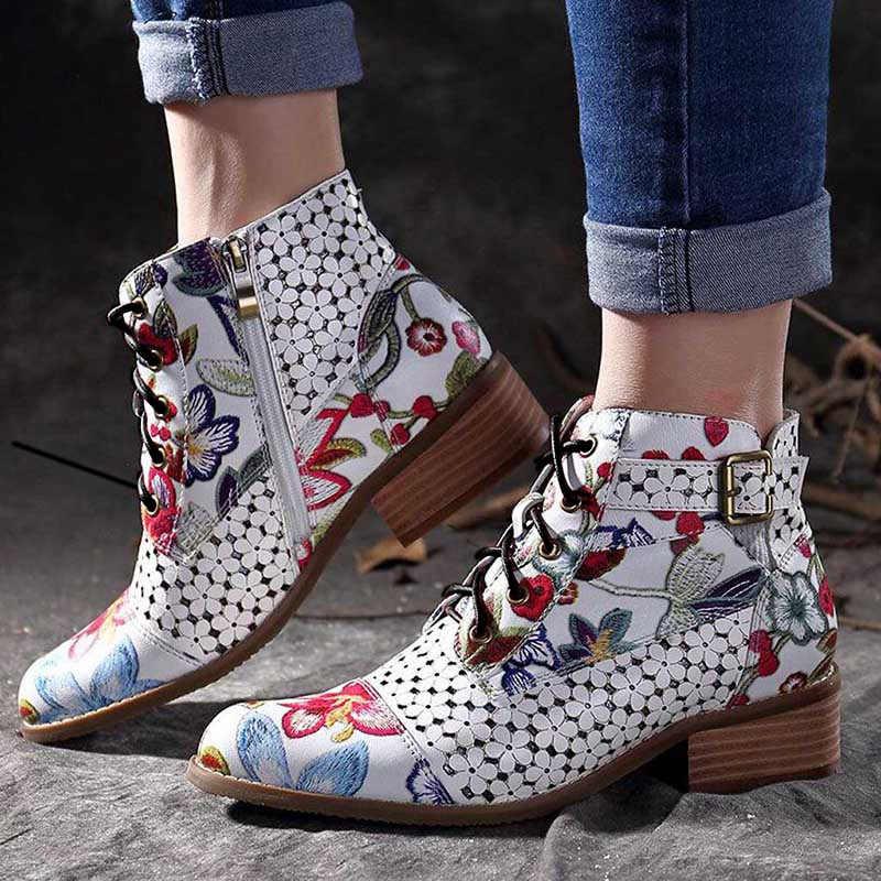 Mùa Đông Nữ Mắt Cá Chân Giày Phong Cách Dân Tộc In Hoa Nữ Da PU Giày Bốt Nữ Cao Gót Kéo Khóa Nơ Giày Bơm Botas mujer