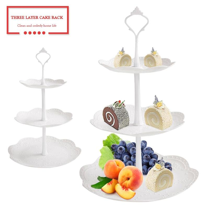 3 Layers Fruit Plate Dessert Trays Multi-Layer Cake Rack Dessert Tray Birthday Party Afternoon Tea Kitchen Accessories