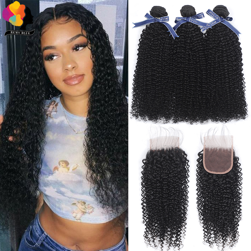 Remyblue Peruvian Hair Bundles With Closure Natural Color Afro Kinky Curly Human Hair 3 Bundles With Closure Remy Hair Bundles