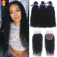 Remyblue Peruvian Hair Bundles With Closure Natural Color Afro Kinky Curly Human Hair 3 Bundles With Closure Remy Hair Bundles