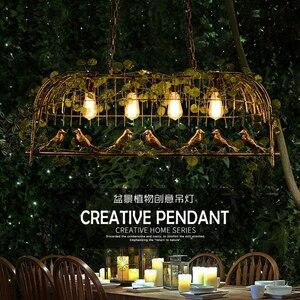 Image 2 - Rétro industriel vent LED pendentif lumière E27 originalité fer Art oiseau Cage lumières luminaire Restaurant barre plante suspension lampe