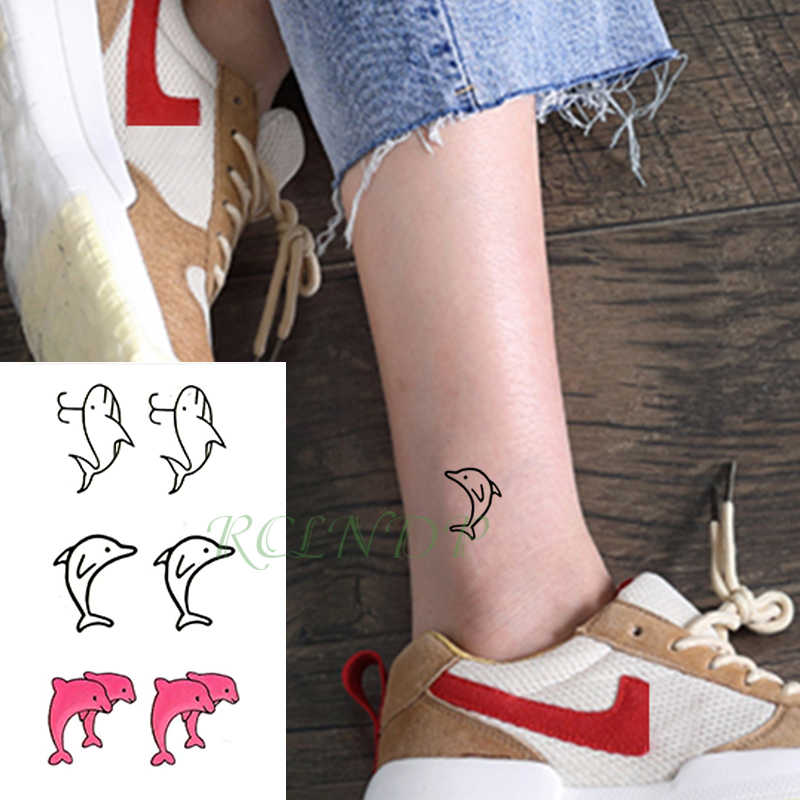 Su geçirmez geçici dövme etiket pembe balina hayvan dövme flaş dövme sahte dövmeler el bacak kol çocuklar erkekler kadınlar için çocuk