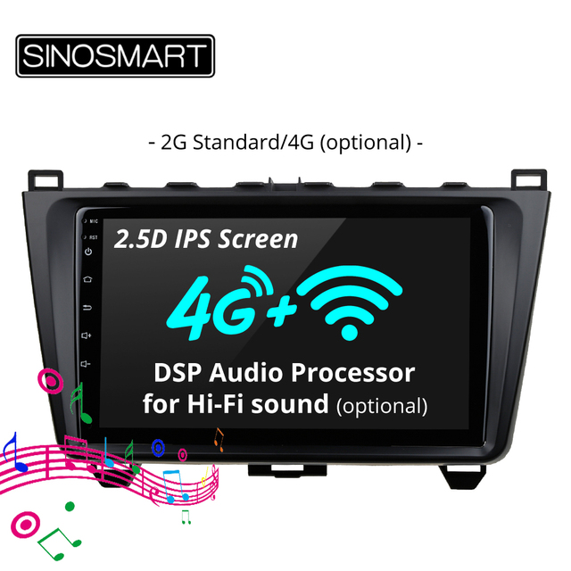 SINOSMART Stock in Russia EU 2.5D IPS 2G RAM Car GPS Navigation Player for Mazda 6 2008 2012 32EQ DSP, 4G SIM Card Slot Optional