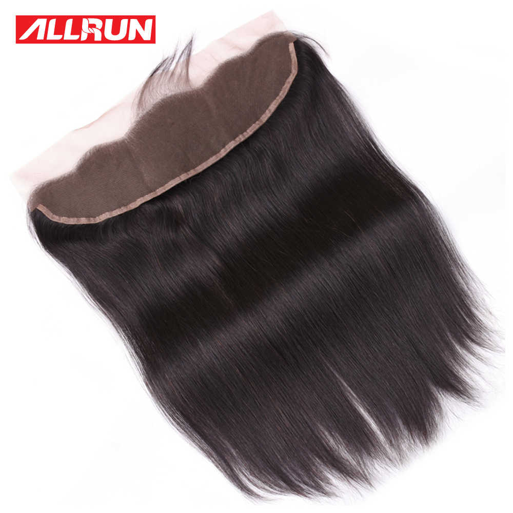 Allrun Brazilian Straight Hair 1 Pcs 13*4 Lace Frontal Closure non Remy 100% Human Hair Lace Frontal 8-20 Inch Natural Color