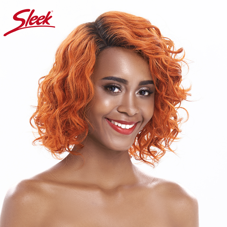 Sleek Lace Front Human Hair Wigs Orange Blonde Water Wave Lace Front Wig 12 Inch Short Curl Lace Part Human Hair Wigs Fast Ship