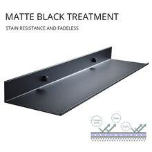 Promoção por atacado acessórios do banheiro 30-50cm moderno fosco preto prateleiras do banheiro prateleira de parede da cozinha chuveiro banho de armazenamento rack