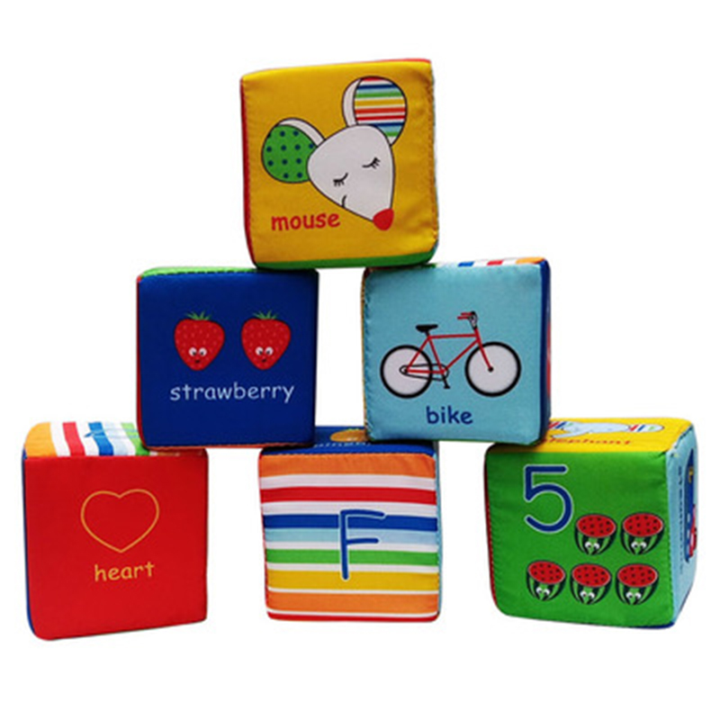 Baby Rattles Toys Soft Cloth Building Blocks Number Letters Animal Stuffed Cube Educational Rattle Blocks Toy 6 Months+ Baby Toy