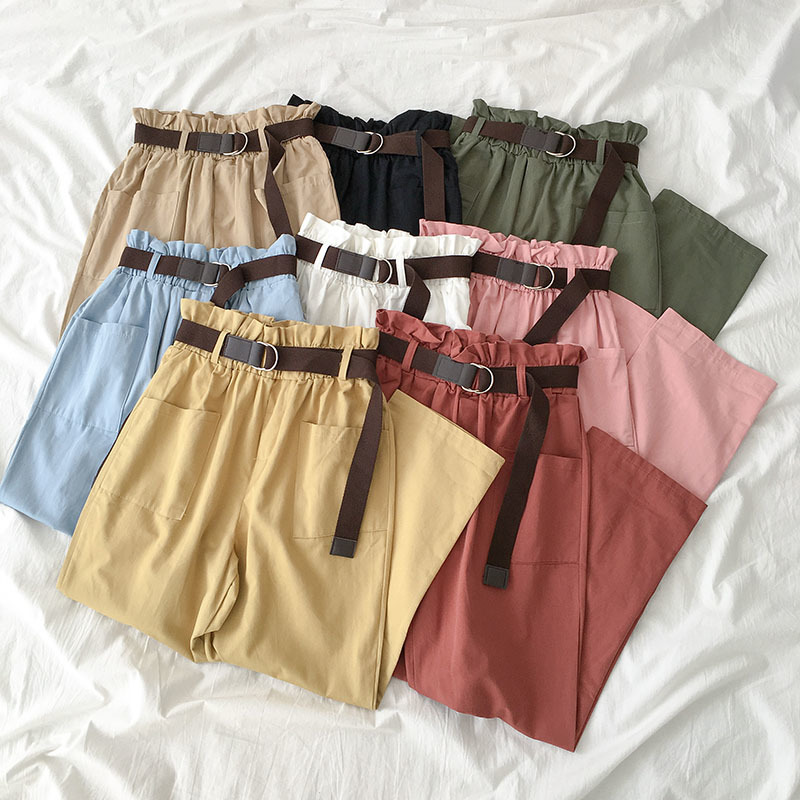 Autumn Safari Casual Long Trousers Women Elastic High Waist   Wide     Leg     Pants   With Sashes Female Pink Red Green   Pant   Cotton Bottoms