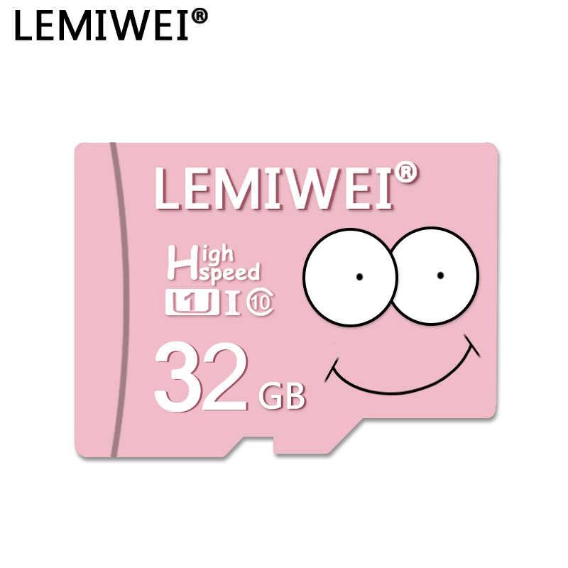 Lemiwei สีชมพู Big SMILE 32GB 64GB U1 16GB TF Card 8GB Class10 Big Eyes การ์ดแฟลช C10 MINI การ์ดหน่วยความจำสำหรับโทรศัพท์