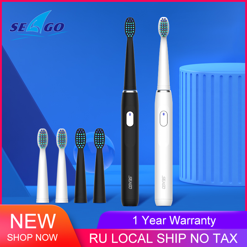 SEAGO Electric Toothbrush USB Rechargeable Adult Waterproof Sonic Tooth Brush 4 Mode Travel With 3 Brush Head Safety Gift
