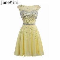 JaneVini Silver Sequins Evening Short Dress 2019 Yellow 8th Grade Prom Gowns A Line Homecoming Dresses 2019 Beaded vestido curto