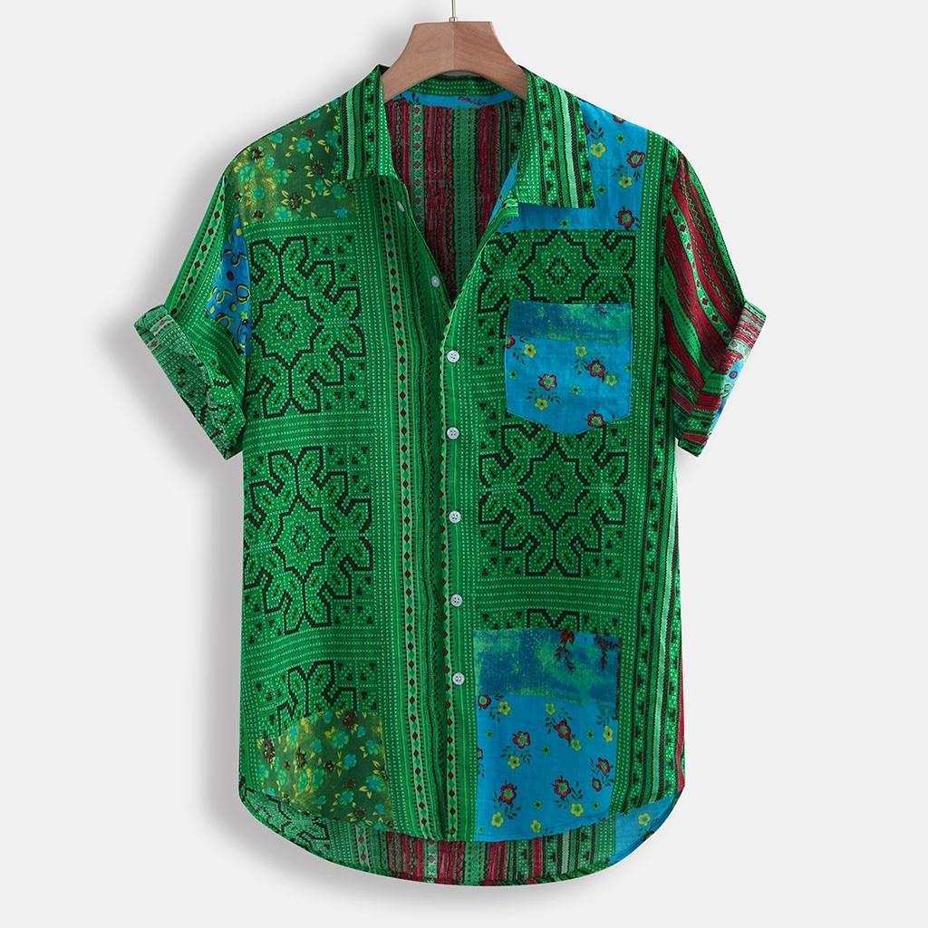 Men Shirt Vintage Ethnic Printed Turn Down Collar Short Sleeve Loose plus size hawaiian shirt 3XL streetwear chemise homme