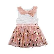 цены Toddler Infant Cute Baby Kids Girls Dot Sequins Bow Sleeveless Tutu Tulle Lovely Summer Girls Dress