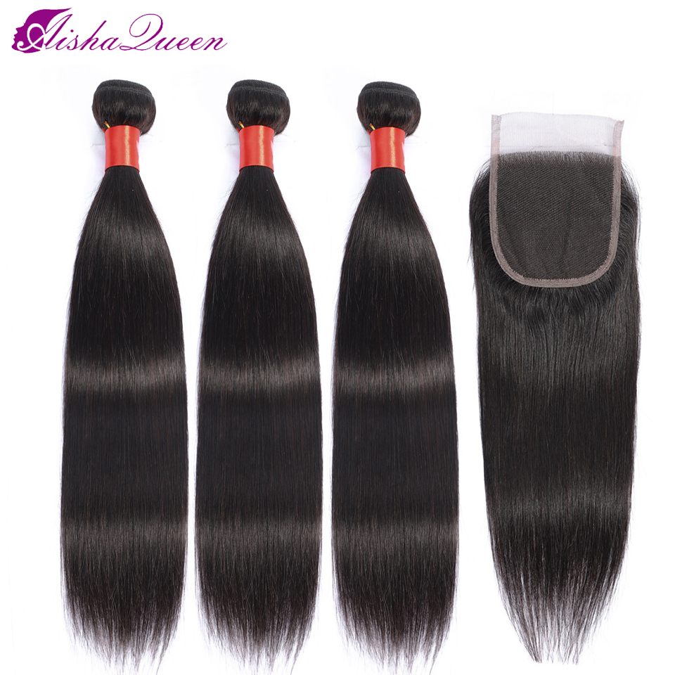 Aisha Queen Peruvian Hair Weave Bundles With Closure Non-remy Human Hair Natural Color 3 Bundles With Closure