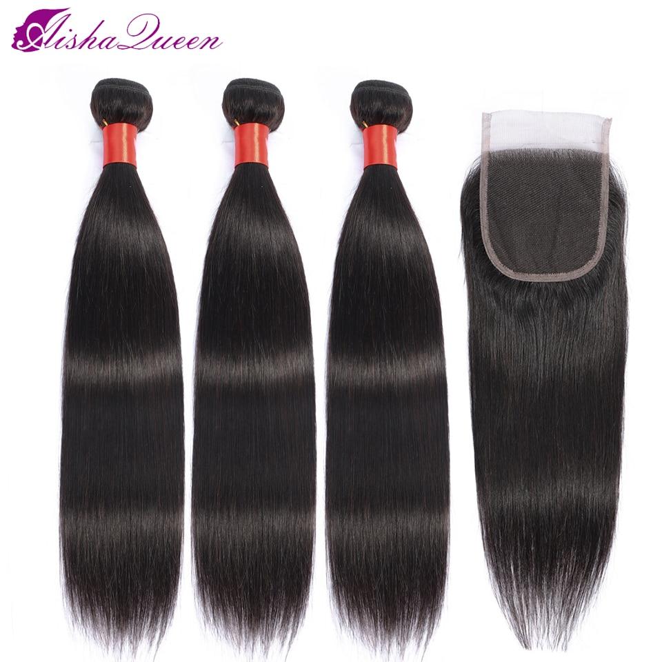 Aisha Queen Peruvian Hair Weave Bundles With Closure Non-remy Human Hair Natural Color 3 Bundles With Closure