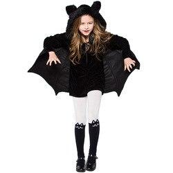 Halloween costume for kids/women/Teen Black Bat Party Cosplay Costume Children's Halloween Hooded Jumpsuit Romper