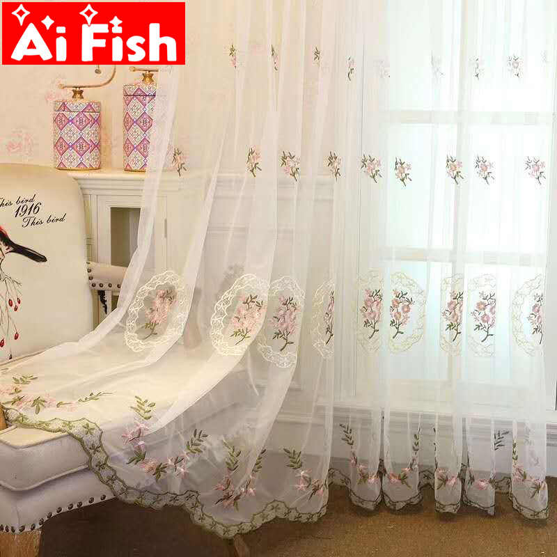 Korean Style Pink Embroidered Lace Tulle For Bedroom Blue Flower Window Screen Sheer Panels Curtains For Living Room ZSS0032#40