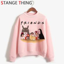 Totoro Studio Ghibli Kawaii Harajuku Anime bluzy z kapturem kobiety śmieszne Cartoon ulzzang bluza słodkie 90s graficzny moda bluza z kapturem kobiet tanie tanio COTTON Poliester Swetry 300g Na co dzień Golfem REGULAR Suknem Pełna totoro hoodie totoro sweatshirt totoro shirt