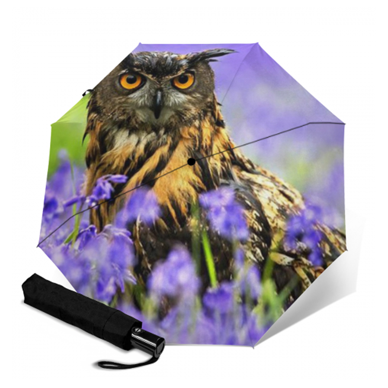 Cute Owl Animals Birds Folding Rain Umbrella Parasol Windproof Travel Sun Umbrella Compact