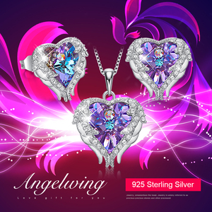 Image 2 - Cdyle Angel Wings Heart Shaped Necklace Earrings Set Wedding Bridal Women Jewelry Set with Top Quality Crystal 4 Color Available