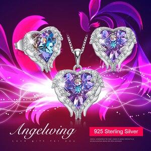Image 2 - Cdyle Engelenvleugels Hartvormige Ketting Oorbellen Set Wedding Bridal Vrouwen Sieraden Set Met Top Kwaliteit Crystal 4 Kleur Beschikbaar