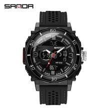Sanda new electronic watch thermometer sport watch fashion casual waterproof men #8217 s electronic watch gift digital watch men watch cheap 9 84inch Stainless Steel Buckle 5Bar Fashion Casual Digital Wristwatches 54 5mm Silicone 16mm Hardlex Stop Watch Shock Resistant