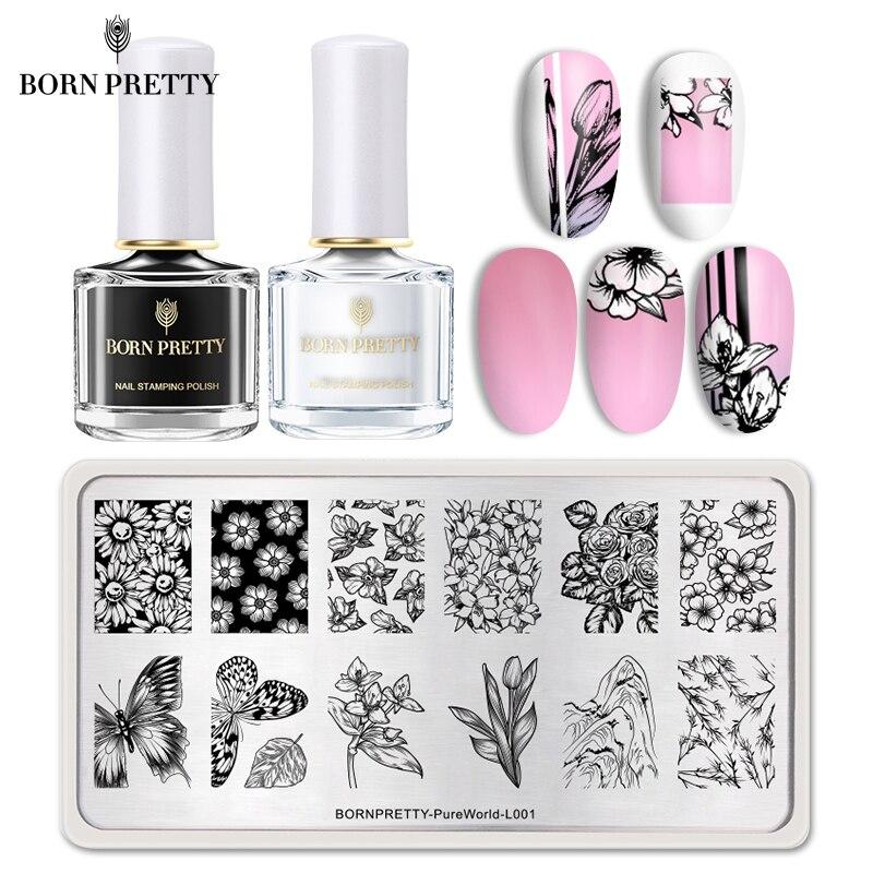 BORN PRETTY Stamping Nail Set 3/6/7Pcs Black White Stamping Polish Flower Geometry Pattern Template Kit Basic Stamping Plate Lot