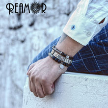 REAMOR Gold Natural Lava Stone Energy Beads Strand Bracelets Stainless steel Pulseira Masculina Jewelry For Men(China)