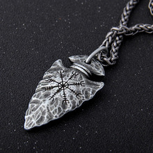 "Yage цепочка из нержавеющей стали с руна викингов ""Aegishjalmr"" копье кулон ожерелье как подарок для мужчин"