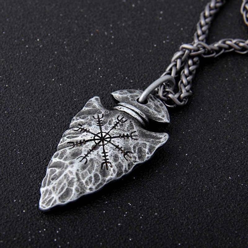 "Yage Stainless Steel Chain with Viking Rune ""Aegishjalmr"" spear pendant necklace as men gift"