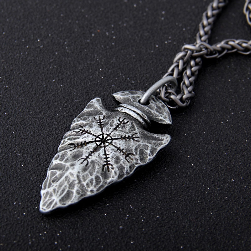 """Yage Stainless Steel Chain with Viking Rune """"Aegishjalmr"""" spear pendant necklace as men gift Pendant Necklaces    - AliExpress"""