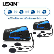 2 pièces Lexin 4 Voies moto rcycle Bluetooth Casque Casques Interphone FM BT moto vélo intercomunicadores de casco moto interfone(China)
