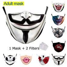 Máscara de algodão reutilizável adulto boca grande 3d impresso máscara de tecido facial la casa de papel crânio reutilizável lavável máscaras à prova de pano máscara