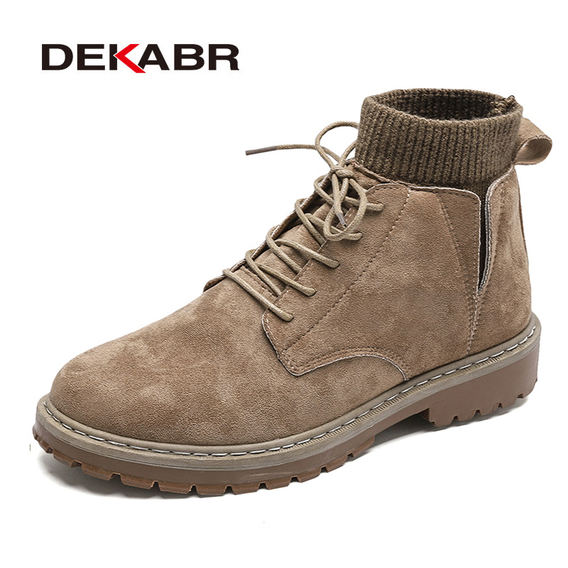 DEKABR New Fashion Men Boots High Quality Mens Autumn Winter Boots Cow Suede Male Ankle Boots Casual Snow Boots Working Shoes