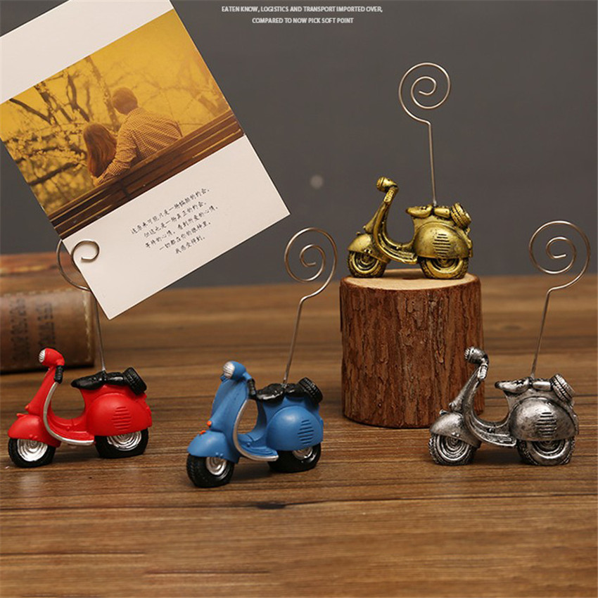1PC Retro Electric Car Photo Folder Message Holders Clips Business Card Holder Ornaments Desktop Card Message Clips Decoration