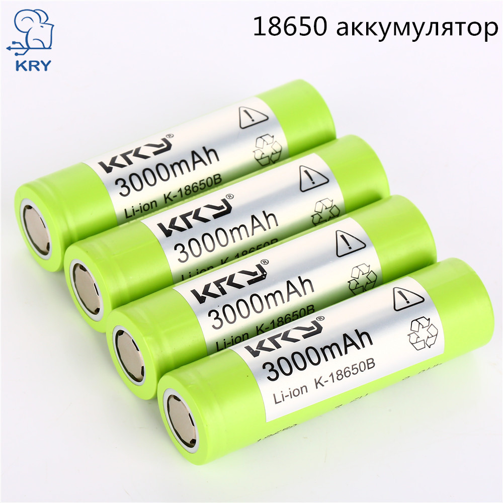 KRY New 3.7 v 3000mah 18650 Lithium Rechargeable Battery Li-ion Power Bank 18650 Battery For Flashlight headlamp batteries