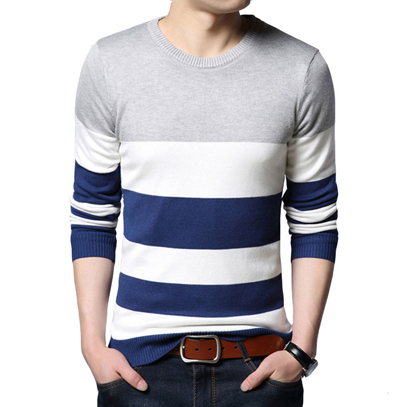 Men Sweaters Autumn New Men's Sweater Fashion Long-Sleeved Stripe Knit Sweaters Casual Slim Pullovers M-3XL 2020