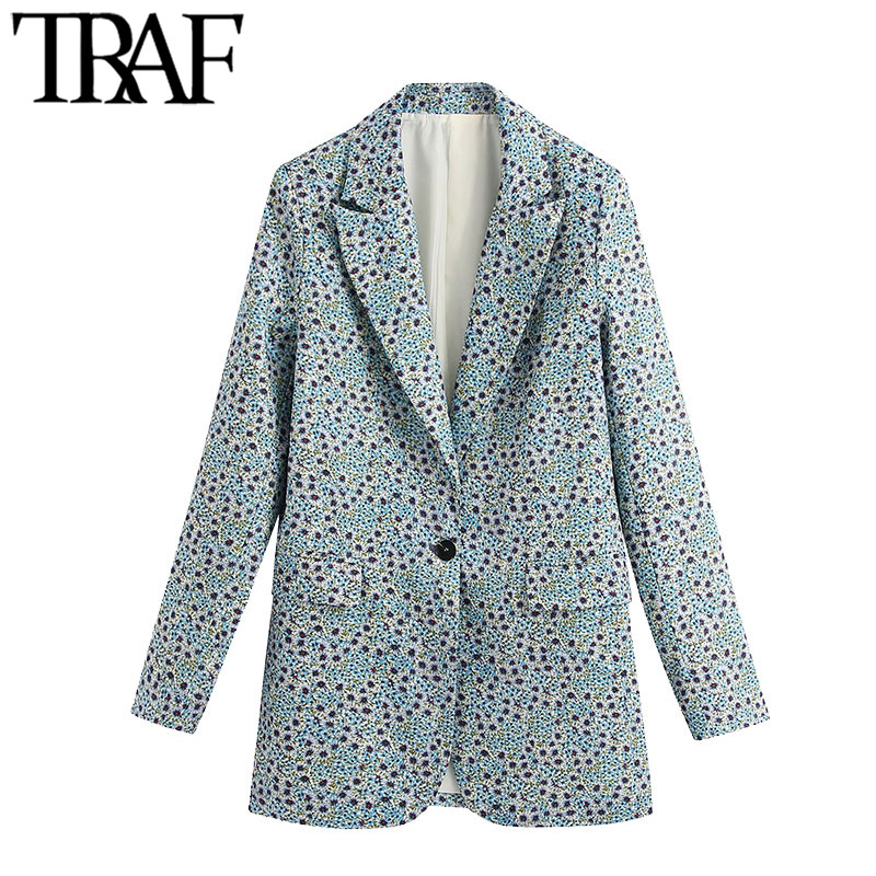 TRAF Women Fashion Office Wear Floral Print Blazer Coat Vintage Long Sleeve Back Vents Female Outerwear Chic Tops