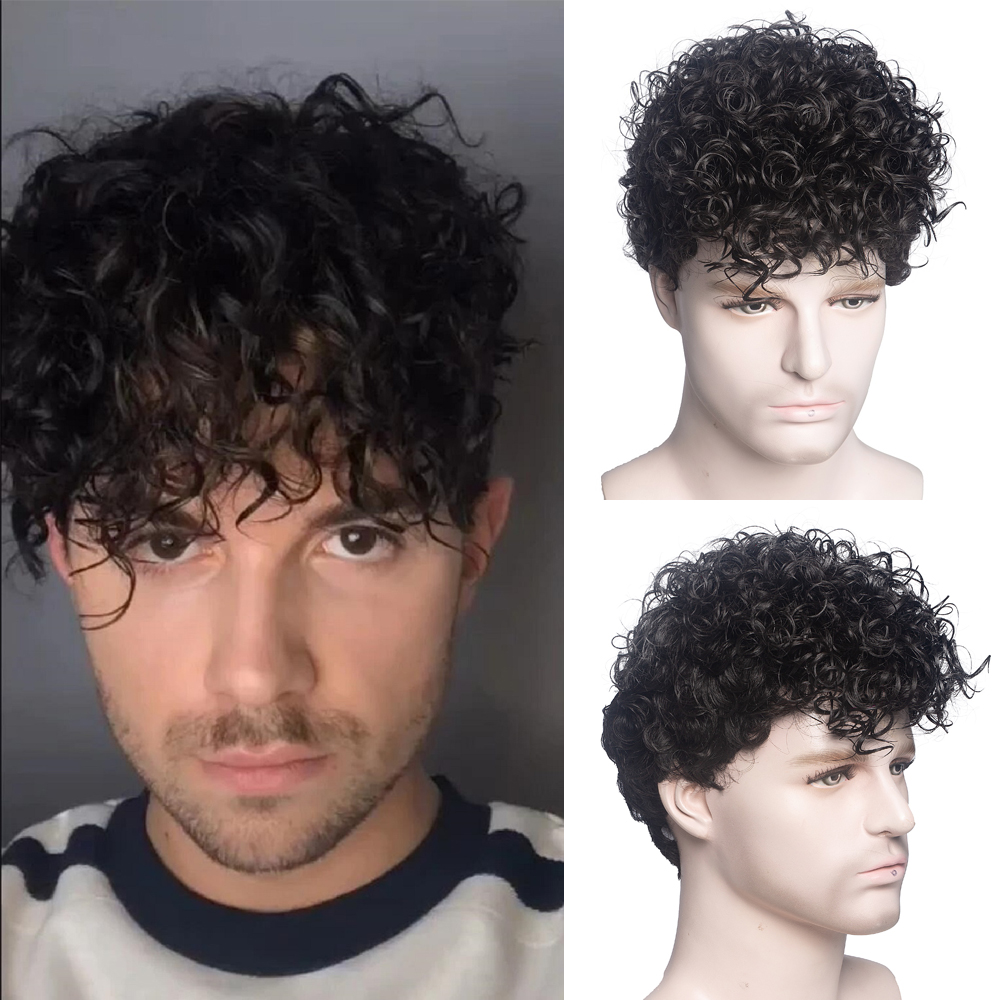 Homens curto encaracolado perucas sintéticas para masculino diário peruca ombre masculino encaracolado resistente ao calor respirável