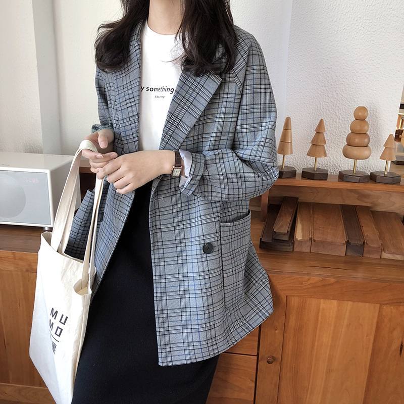 Chic Plaid Suit Blazers Women 2019 Autumn Formal Double Breasted Working Coats Office Lady Loose Casual Retro Jackets