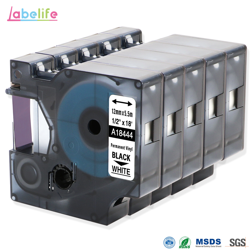 Dymo Set  Kassetten Band LetraTag Polyester 12 mm x 4 m schwarz auf wei/ß