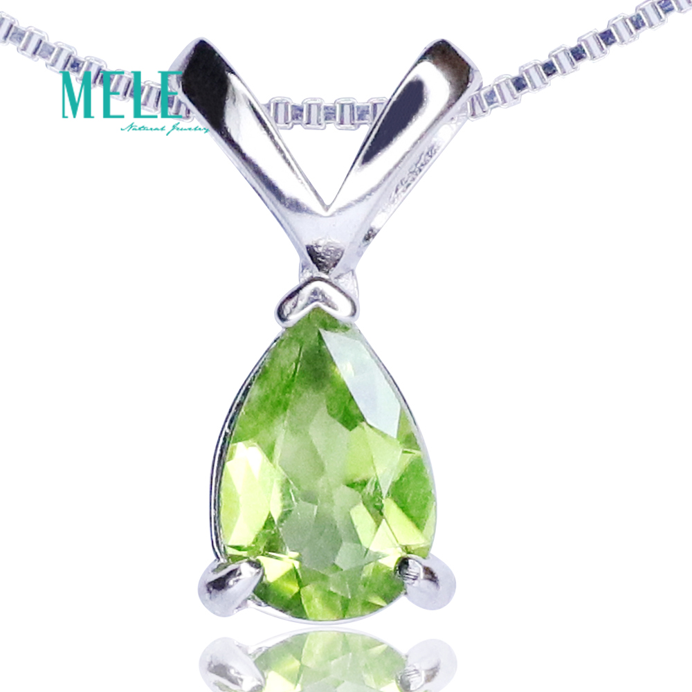 Natural green Olivine pendant necklaces pendants pendant drop ornaments Water drop shape 6*9mm