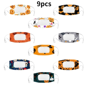 9Pcs/Set Adult Halloween Transparent Mouth Mask Visible Expression Cartoon Pumpkin Print Washable Dustproof Face Cover for The D james p d cover her face