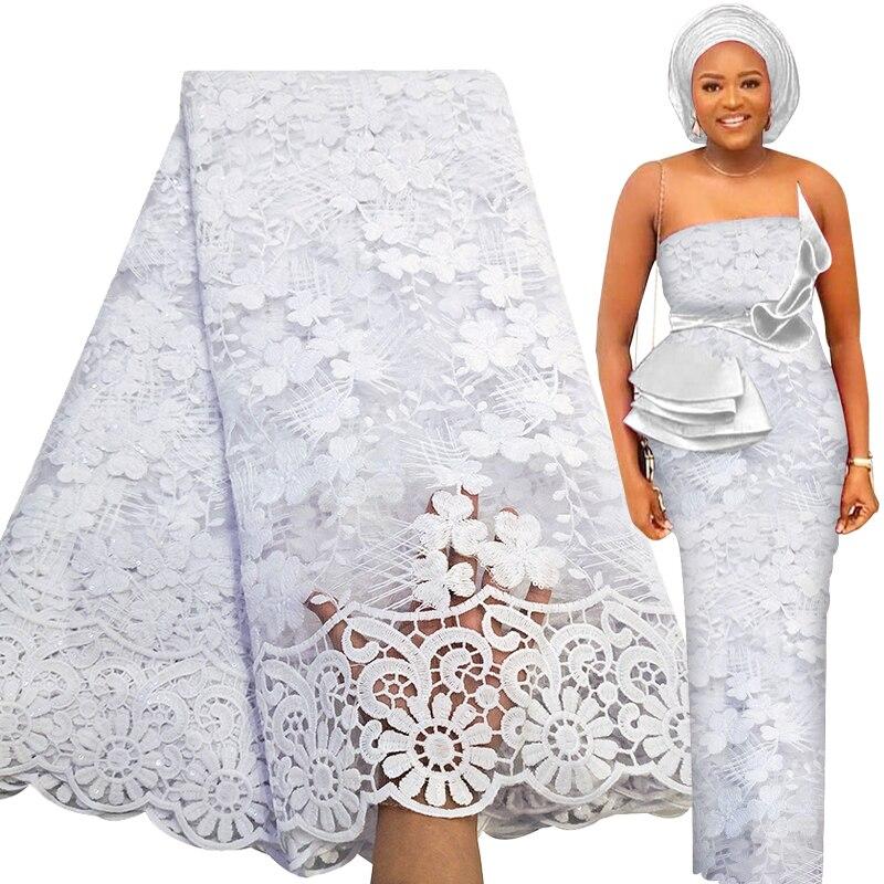 5 ярдов, Мягкая Белая африканская кружевная ткань 2021, французский тюль, Высококачественная вышивка блестками, нигерийский Свадебный матери...